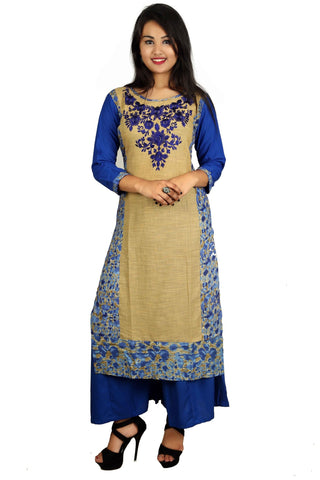 Blue Color Cotton Stitched Kurti - D8-Blue-Blue