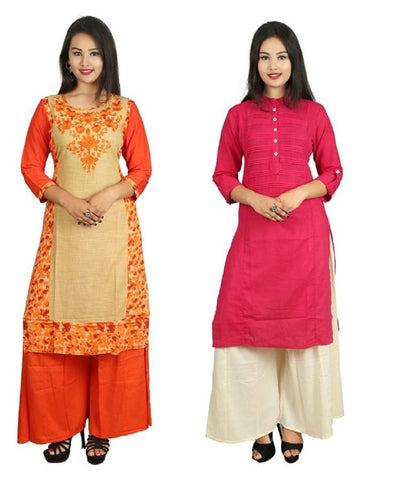 COMBOS-Orange And Pink Color Kurti - D8-O_D15-P