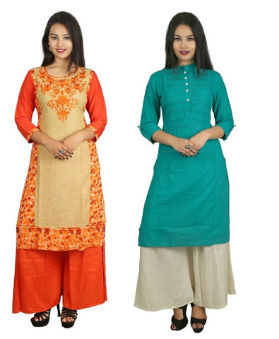 COMBOS-Orange And Turquoise Color Kurti - D8-O_D15-T