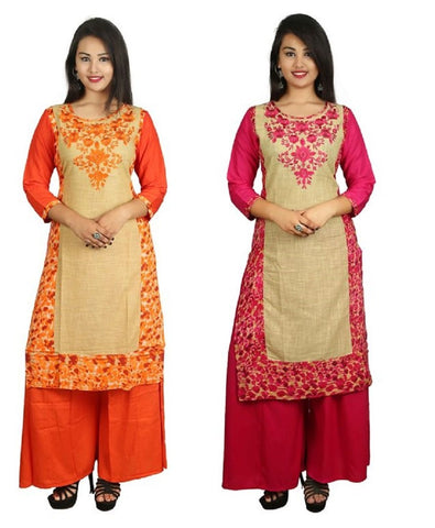 COMBOS-Orange And Pink Color Kurti - D8-O_D8-P