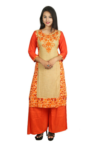 Orange Color Cotton Stitched Kurti - D8-Orange-Orange