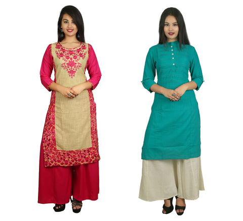 COMBOS-Pink And Turquoise Color Kurti - D8-P_D15-T