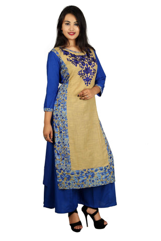Blue Color Cotton Embroidery Kurti - D8 Blue