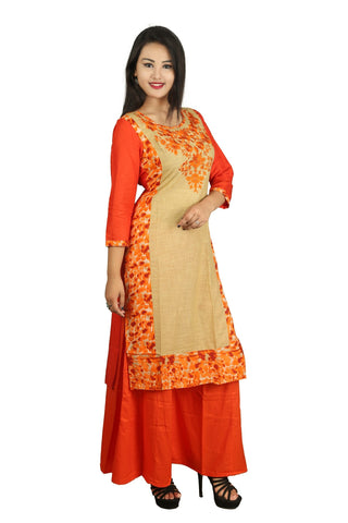 Orange Color Cotton Embroidery Kurti - D8 Orange