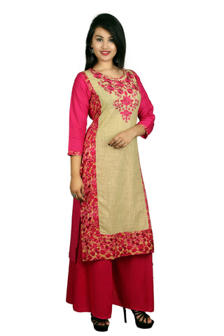 Pink Color Cotton Embroidery Kurti - D8 Pink