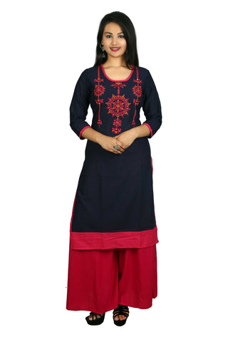 Blue And Pink Color Cotton Stitched Kurti - D9-Blue-Pink