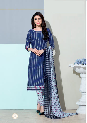 Nevy Blue Color  Amarican Crape  Unstitched Dress Material - DC-1004
