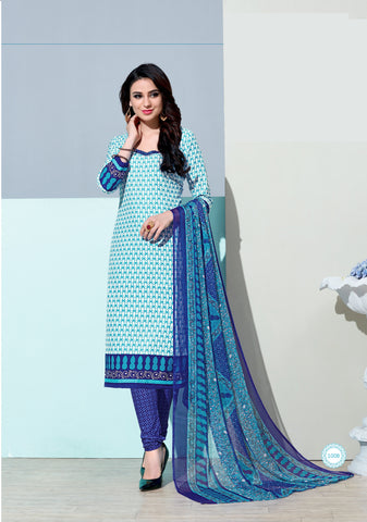 Sky Blue Color  Amarican Crape  Unstitched Dress Material - DC-1008