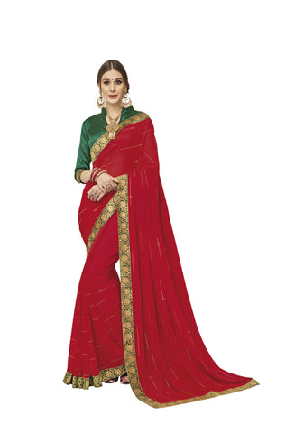 Red Color Chiffon Full Designer Saree - DC50103