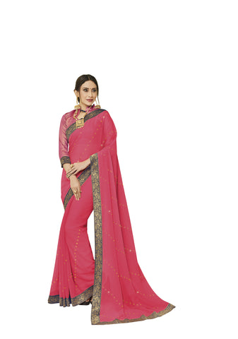Peach Color Chiffon Full Designer Saree - DC50105