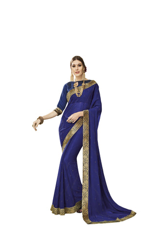 Navy Blue Color Chiffon Full Designer Saree - DC50106
