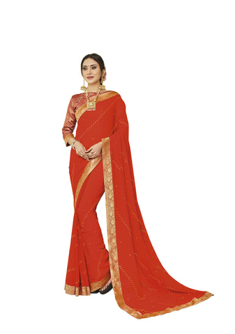 Orange Color Chiffon Full Designer Saree - DC50107