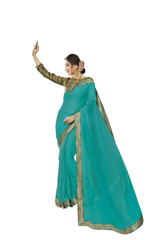Cyan Color Chiffon Full Designer Saree - DC50112