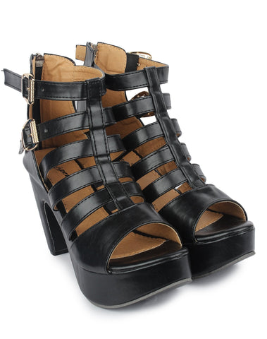Black Color Nappa Leather Sandals - DDWF-509-BLACK