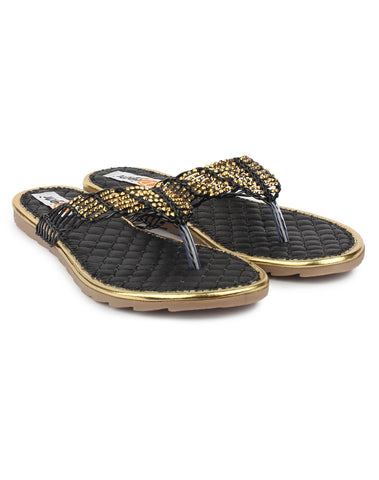 Black Color Synthetic Sandal - DDWF-A-2-Black