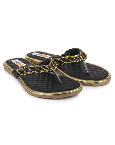 Black Color Synthetic Sandal - DDWF-A-3-Black