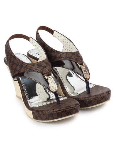 Brown Color Fabric Sandals - DDWF-B-25-BROWN