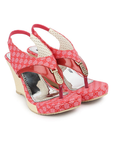 Pink Color Fabric Sandals - DDWF-B-25-PINK