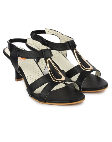 Black Color Synthetic Sandal - DDWF-B-40-BLACK