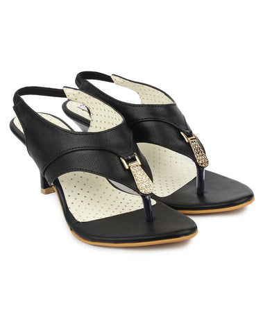 Black Color Synthetic Sandal - DDWF-B-41-Black