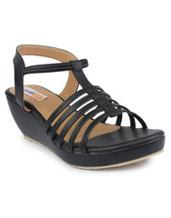 Black Color Nappa Leather Sandals - DDWF-C-5-BLACK