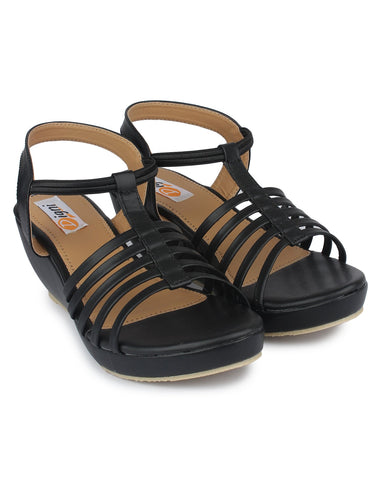 Black Color Patent Leather Sandal - DDWF-C-5-BLACK