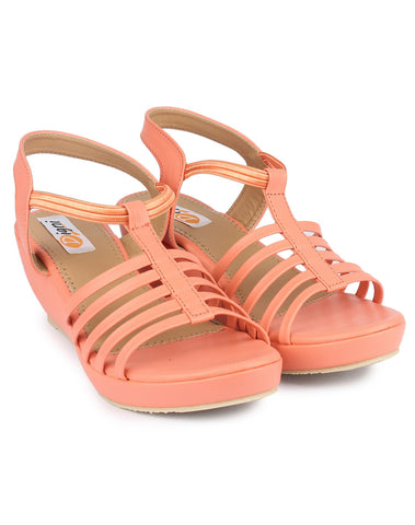 Peach Color Fabric Sandal - DDWF-C-5-Peach