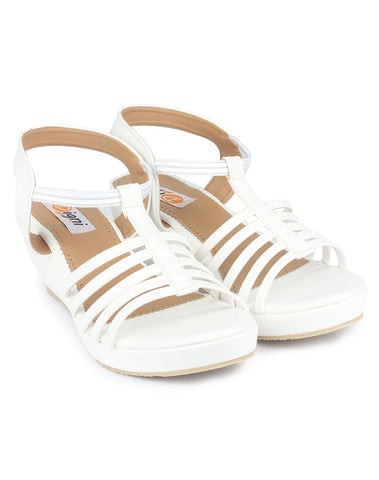 White  Color Fabric Sandal - DDWF-C-5-White