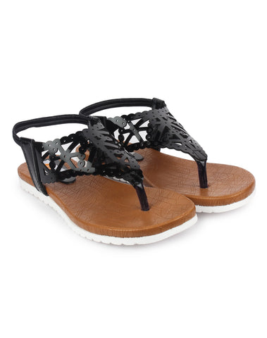Black Color Patent Leather Sandals - DDWF-R-34-BLACK