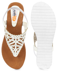 DIGNI White Color Synthetic Women Flats - DWF-R-34-WHITE