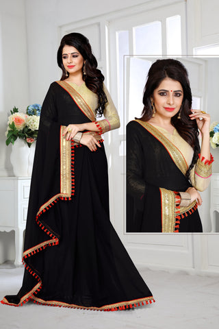Black Color Georgette Saree - DESIGNER-1041