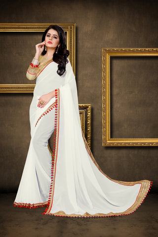 White Color Georgette Saree - DESIGNER-1042