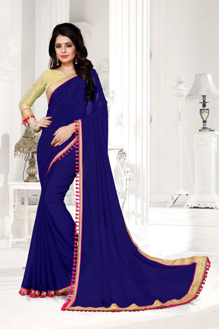 Navy Color Georgette Saree - DESIGNER-1050