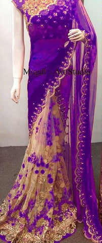 Purple Color Georgette Soft Net Women's Embroidery Work Saree - DESTINYFASHION-29082019-25