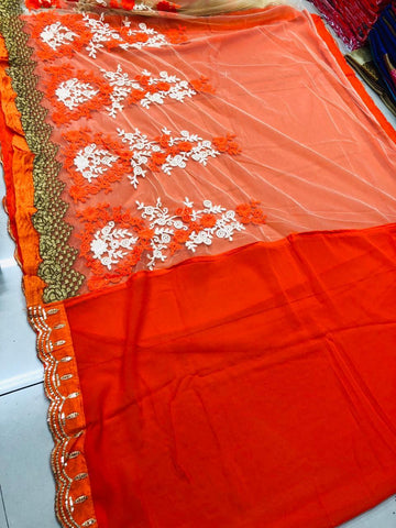 Orange Color Georgette Soft Net Women's Embroidery Work Saree - DESTINYFASHION-29082019-3