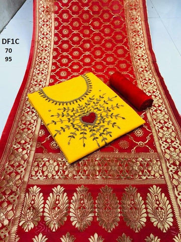 Yellow Color Chanderi Cotton Embroidered Unstitched Salwar - DF1C