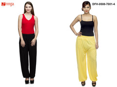 DEEFASHIONHOUSE-Women's Beautiful Pack Of 2 Viscose Lycra Black and Yellow Harem Pants - DFH-0588-7001-4