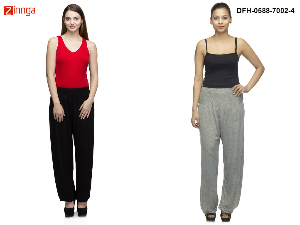 DEEFASHIONHOUSE-Women's Beautiful Pack Of 2 Viscose Lycra Black and Grey Melange Harem Pants - DFH-0588-7002-4