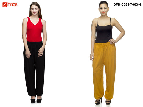 DEEFASHIONHOUSE-Women's Beautiful Pack Of 2 Viscose Lycra Black and Golden Harem Pants - DFH-0588-7003-4