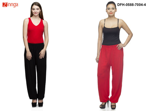 DEEFASHIONHOUSE-Women's Beautiful Pack Of 2 Viscose Lycra Black and Red Harem Pants - DFH-0588-7004-4