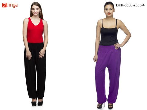 DEEFASHIONHOUSE-Women's Beautiful Pack Of 2 Viscose Lycra Black and Purple Harem Pants - DFH-0588-7005-4