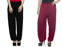 DEEFASHIONHOUSE-Women's Beautiful Pack Of 2 Viscose Lycra Black and Maroon Harem Pants - DFH-0588-7006-4