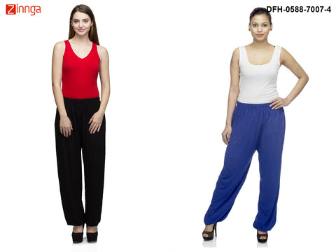 DEEFASHIONHOUSE-Women's Beautiful Pack Of 2 Viscose Lycra Black and Royalblue  Harem Pants - DFH-0588-7007-4