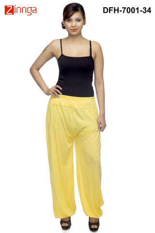 DEEFASHIONHOUSE-Women's Beautiful Yellow Viscose Lycra HaremPants - DFH-7001-34