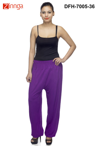 DEEFASHIONHOUSE-Women's Beautiful Purple Viscose Lycra HaremPants - DFH-7005-36