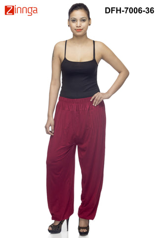 DEEFASHIONHOUSE-Women's Beautiful Maroon Viscose Lycra HaremPants - DFH-7006-36