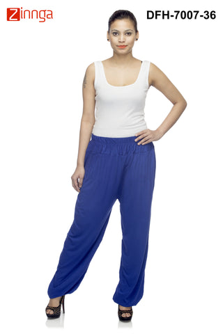 DEEFASHIONHOUSE-Women's Beautiful RoyalBlue Viscose Lycra HaremPants - DFH-7007-36