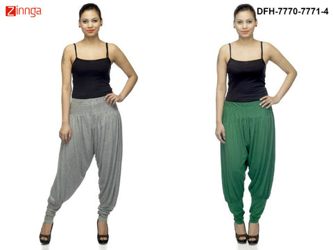 DEEFASHIONHOUSE-Women's Beautiful Pack Of 2 GreyMelange and Green Viscose Lycra Jodhpur Pants - DFH-7770-7771-4