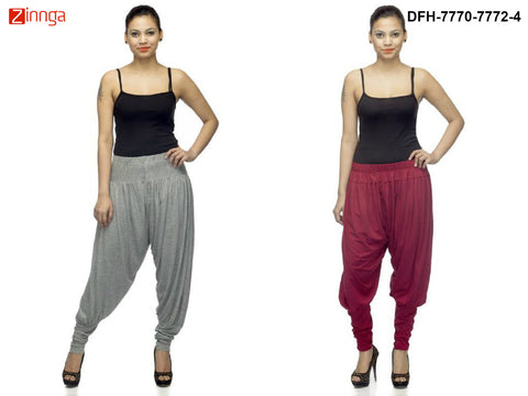 DEEFASHIONHOUSE-Women's Beautiful Pack Of 2 GreyMelange and Maroon Viscose Lycra Jodhpur Pants - DFH-7770-7772-4