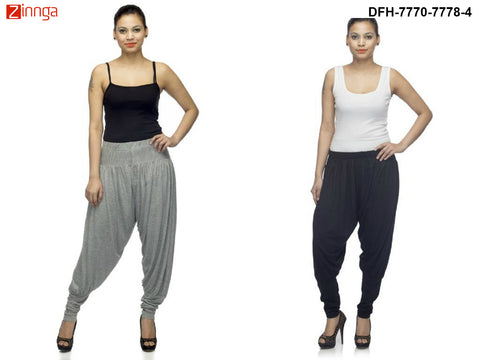 DEEFASHIONHOUSE-Women's Beautiful Pack Of 2 GreyMelange and Black Viscose Lycra Jodhpur Pants - DFH-7770-7778-4